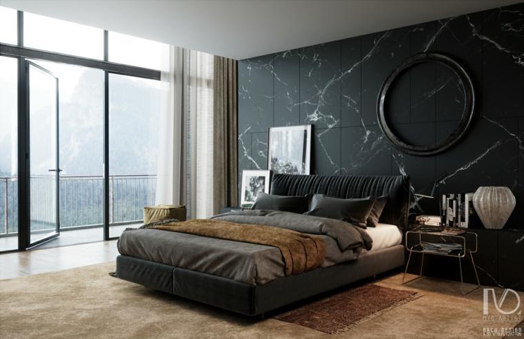 Arredare camera da letto moderna, parete con pannelli, parete effetto marmo, pavimento con tappeto