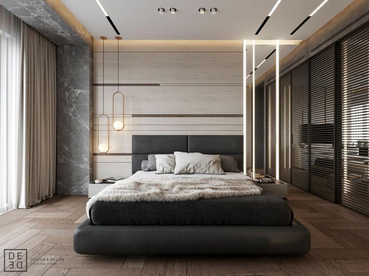 Camere matrimoniali moderne, lampadari sospesi, soffitto con faretti, pavimento in legno