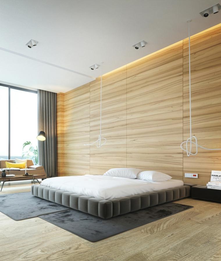 Letto senza testata, letto con imbottitura laterale, parete in legno, lampade led a sospensione