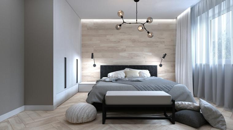 Armadio a muro, parete in legno, zona notte con finestre, pavimento in legno chiaro