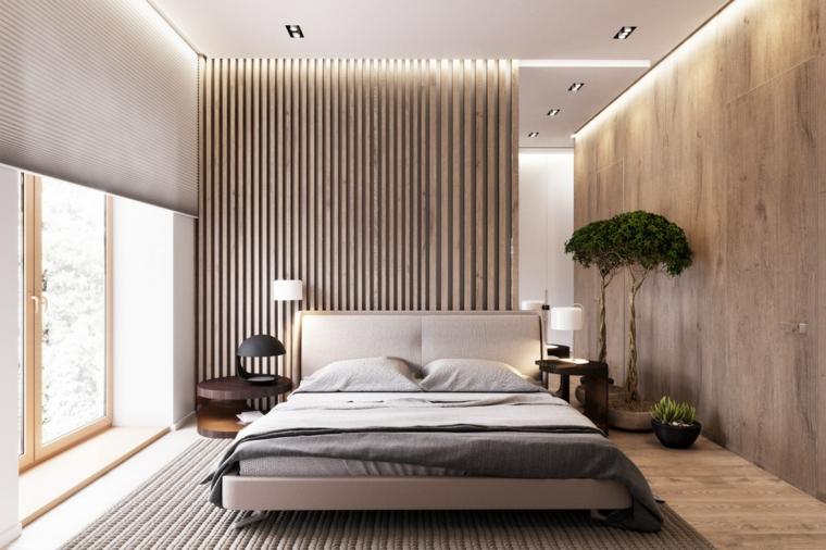 Parete in legno camera da letto, testata letto con cuscini, albero da appartamento