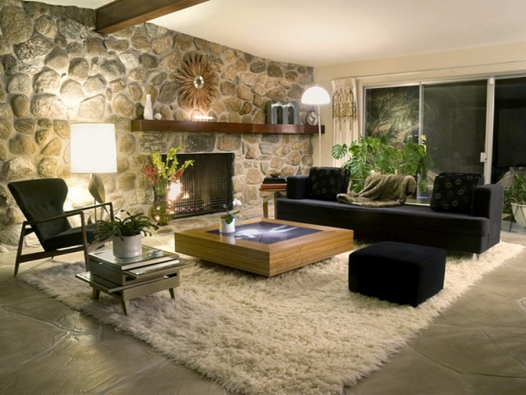 parete soggiorno originale tappeto caldo