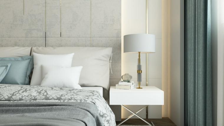 Camere da letto moderne, comodino con piedini incrociati, parete con pannelli