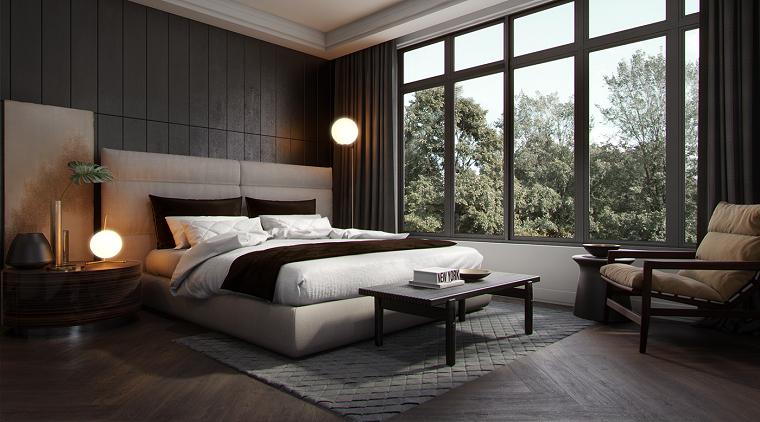Camera con pavimento in legno, letto con testata imbottita, come abbellire camera da letto