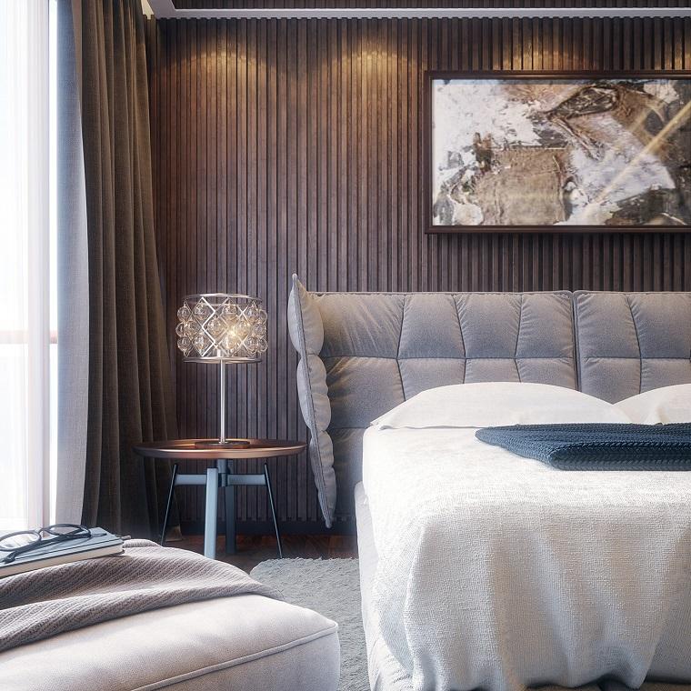 Camere da letto moderne, letto con testata in tessuto, comodino rotondo, lampada in vetro cristallo