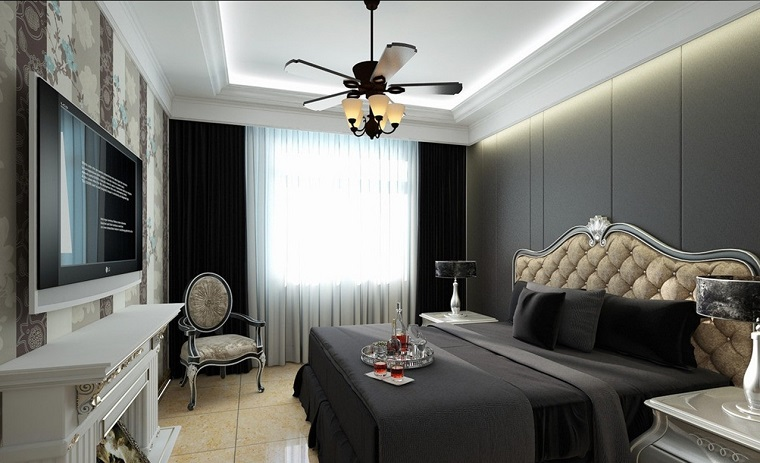 pareti grigie camera letto arredata stile classico