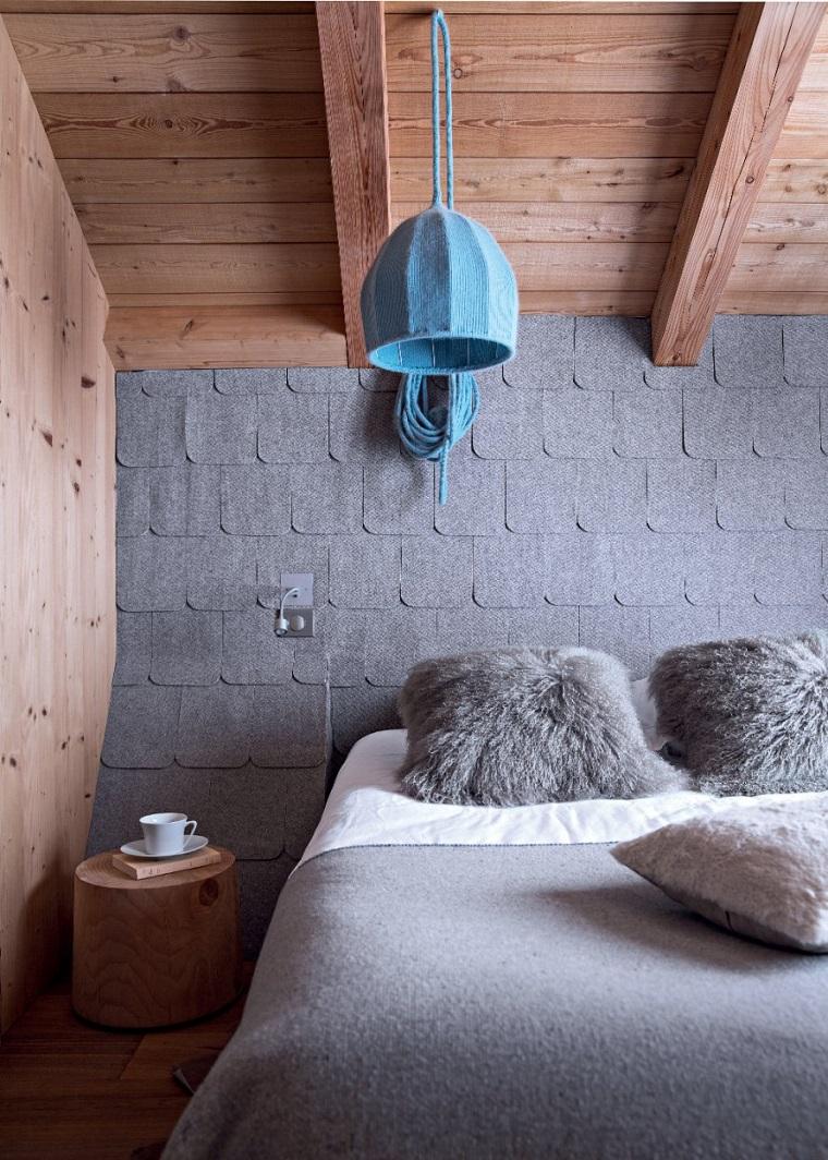 pareti grigie camera letto inserti legno