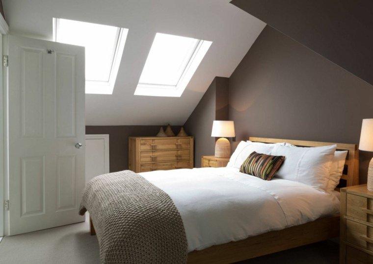 pareti grigie camera letto mobili legno