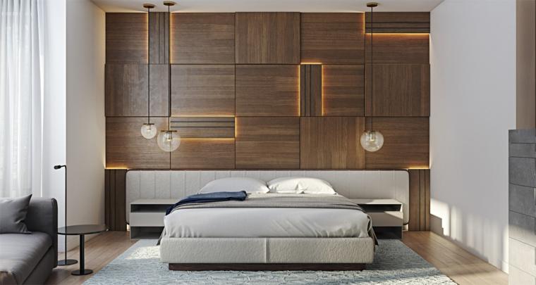 Pannelli in legno con retro illuminazione, lampade a sospensione, camera da letto con divano