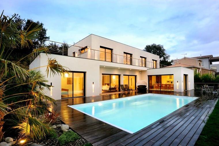piscina esterna giardino inserti legno