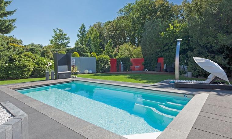 piscina esterna giardino soleggiato immerso verde