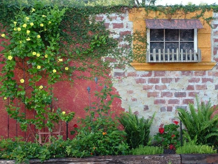 recinzione giardino idea originale muretto rustico
