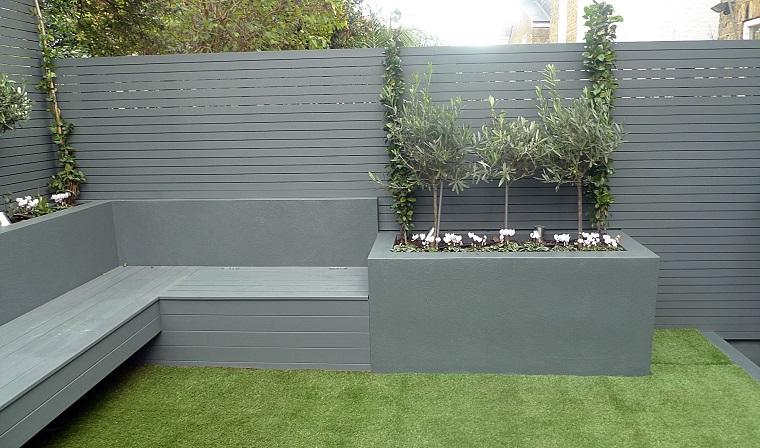 recinzione giardino legno panchina integrata colore grigio