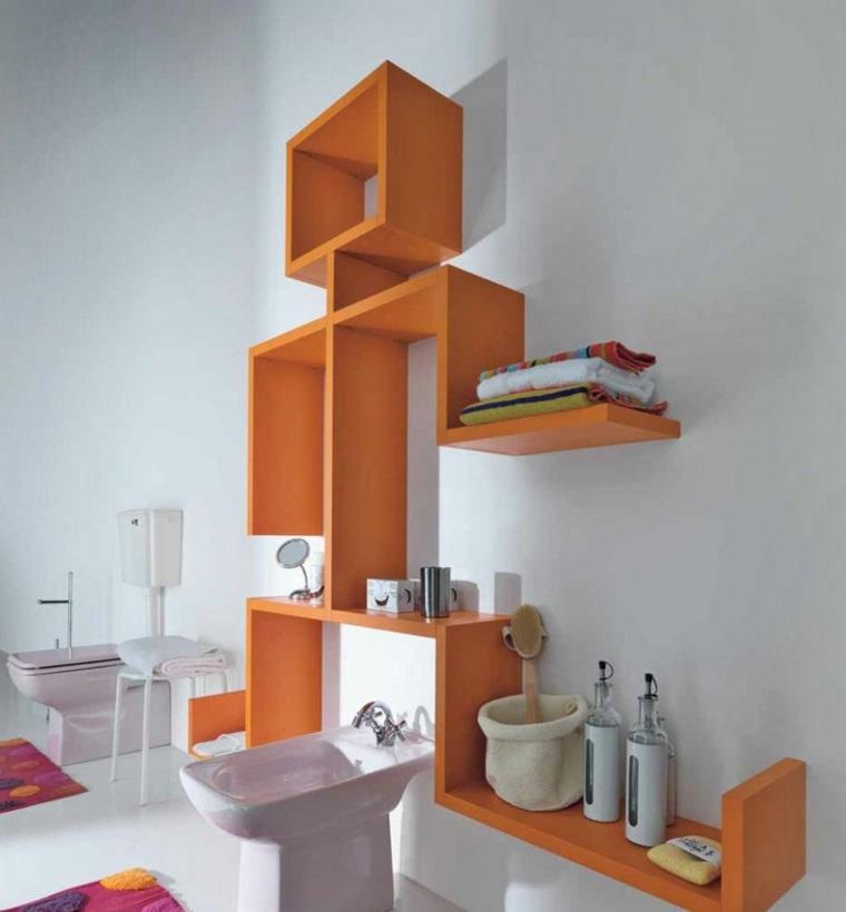 ripiani colore arancione bagno moderno