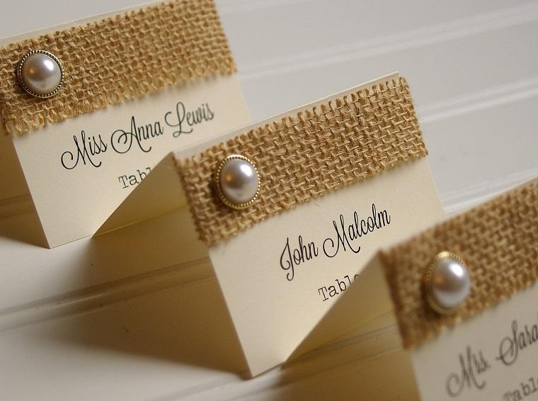 segnaposti originali tessuto grezzo perla