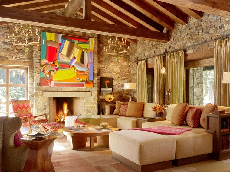 soggiorno arredato decorato stile rustico