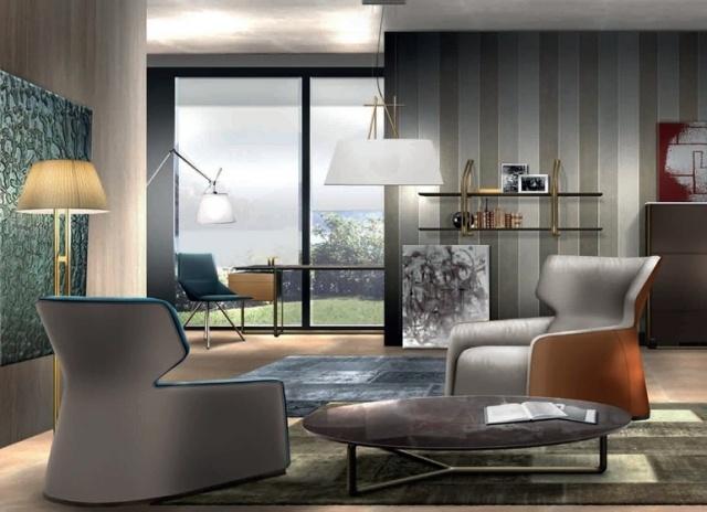 soggiorno moderno design speciale carta parati parete