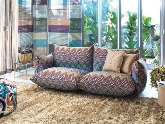 soggiorno moderno divano design speciale tappeto peloso