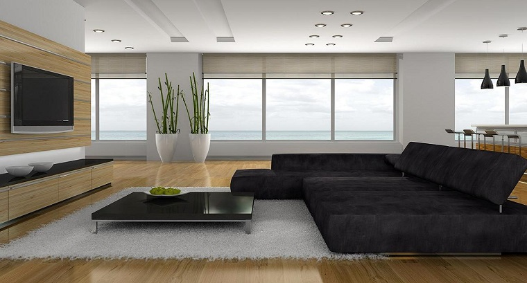 soggiorno moderno grandissimo divano grigio