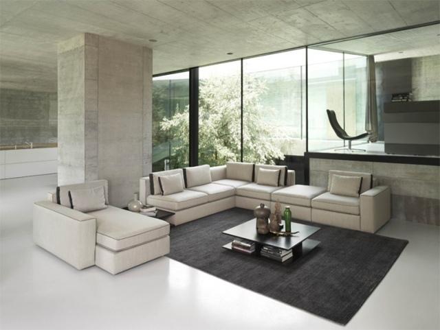 soggiorno moderno minimal rivestimenti legno elementi bianco grigio