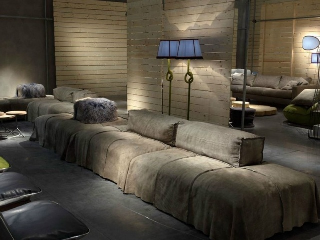 soggiorno moderno stile industriale illuminazione soffusa