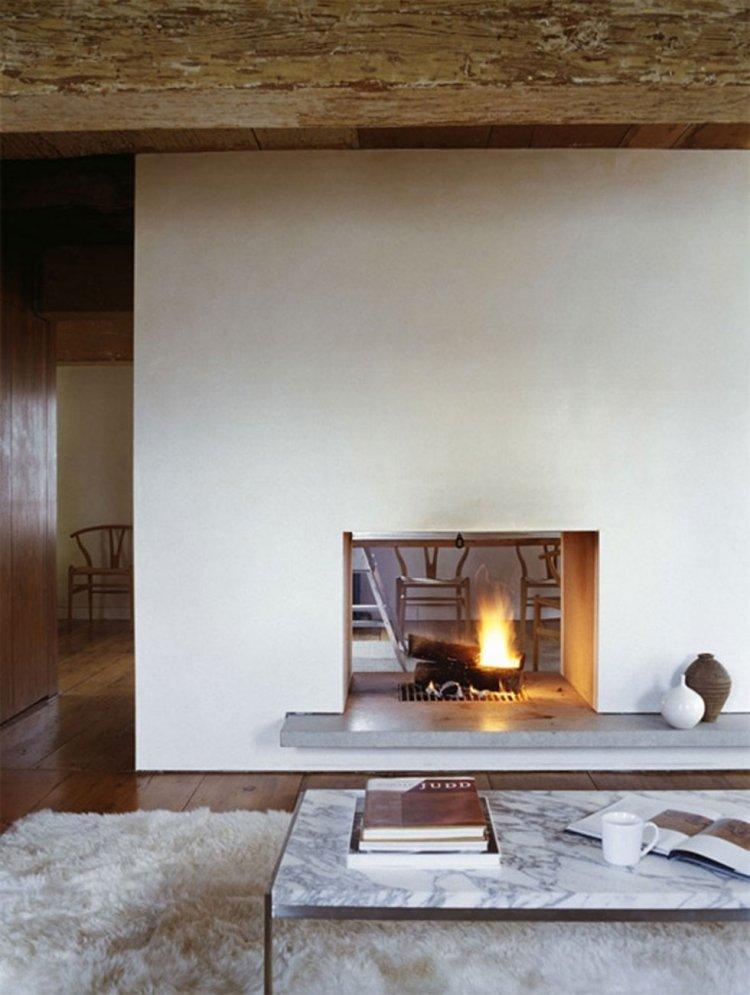 soggiorno stile minimal camino moderno incorporato parete divisoria