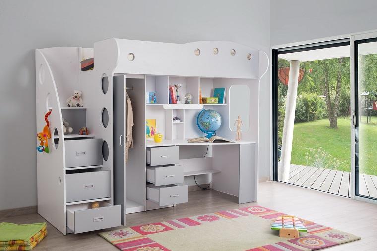 soluzione slava spazio letto soppalco colore bianco