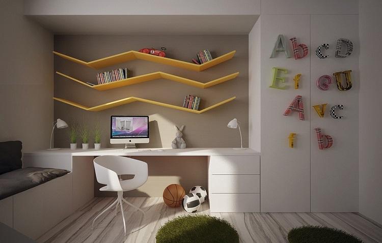 soluzioni salvaspazio proposta particolare libri camera bambini