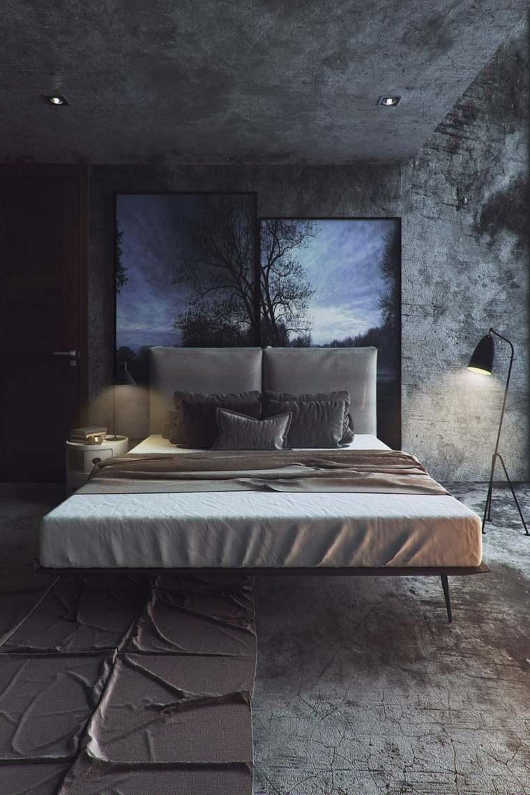 stanza da letto design pareti sfumature grigio