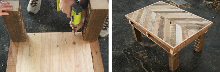 Fissare le gambe su un tavolino di pallet, costruire con i bancali