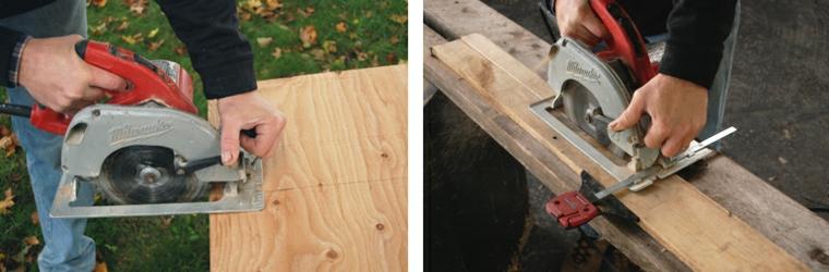 Creare con i bancali, tagliare un pezzo di legno con il seghetto elettrico
