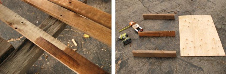 Materiale per costruire un tavolo di legno, costruire con i pallet