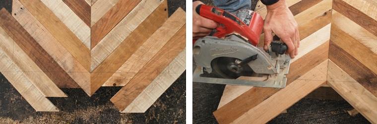 Come utilizzare i bancali di legno, tagliare un bancale di legno su linea disegnata