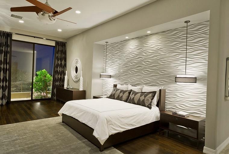 stile moderno stanza letto parete decorata