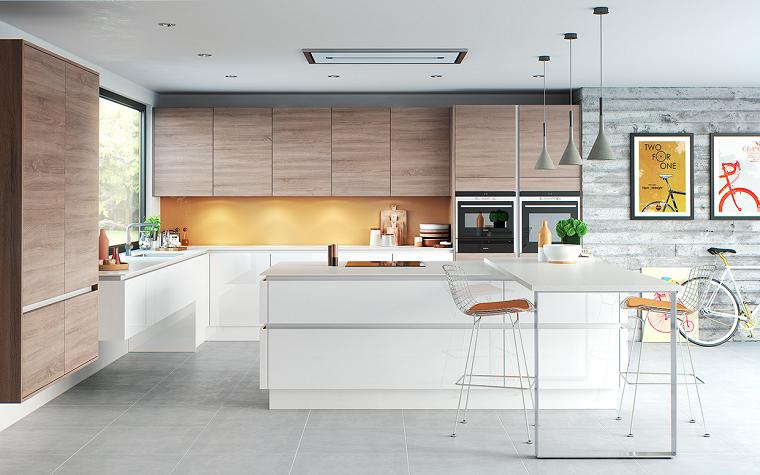suggerimento cucina bianca pensili legno