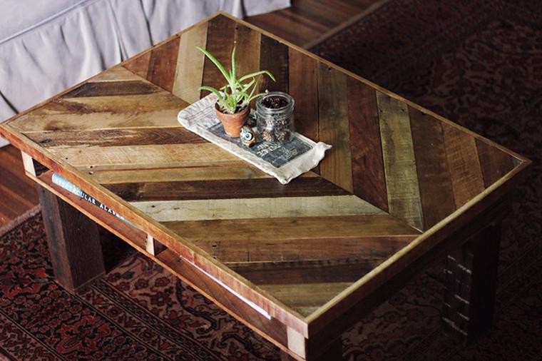 Come utilizzare i bancali di legno, soggiorno con divano e un tavolino basso di pallet