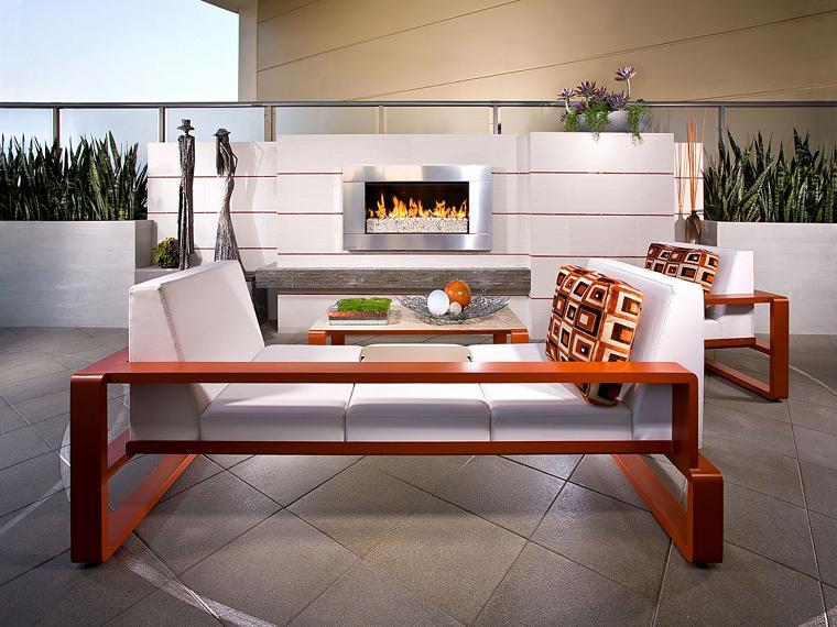 terrazzi arredati mobili camino moderni