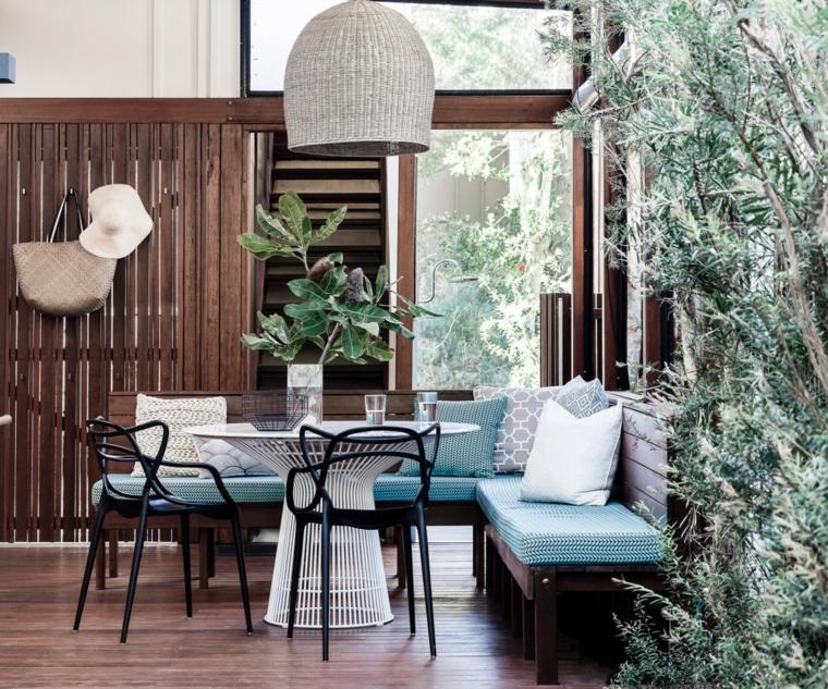 terrazzi arredati moderni set di mobili in metallo panchina in legno decorazione con lampade