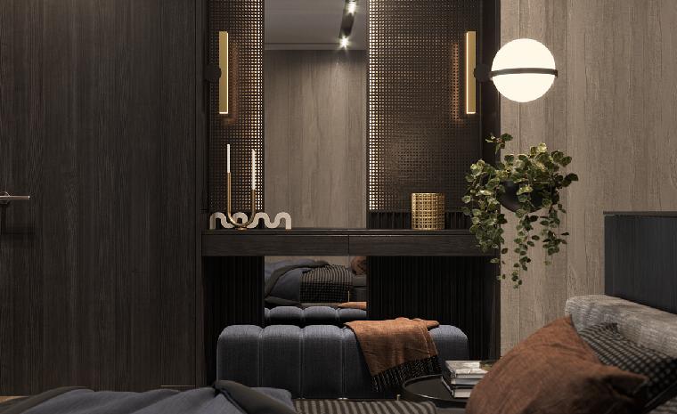 Camere da letto moderne, mobile in legno scuro, pianta in vaso sospeso, pouf di tessuto