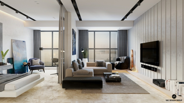 appartamento piccolo come arredarlo salotto con divano grigio letto sospeso in pelle