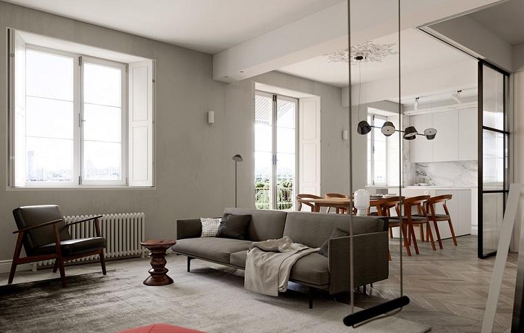 appartamento piccolo come arredarlo soggiorno con divano e tavolino parete divisoria in vetro