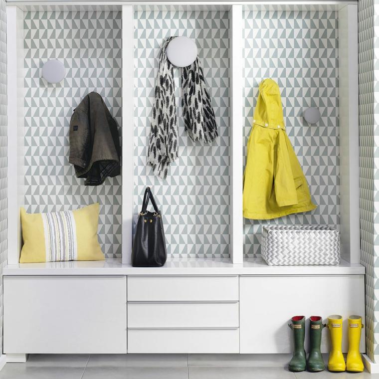 armadio per corridoio stretto appendiabiti da parete con carta da parati mobile per ingresso bianco