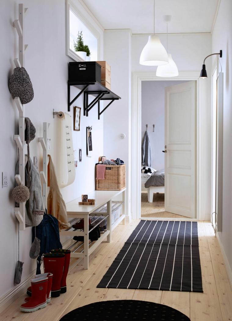 armadio per corridoio stretto scarpiera panchina con mensole appendiabiti da parete