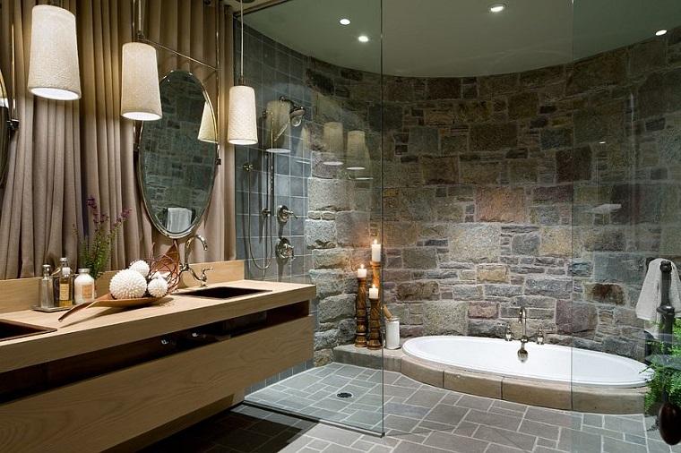 Bagno In Pietra Ricostruita : Bagno pietra pietra e legno per il bagno dal mondo un sulla