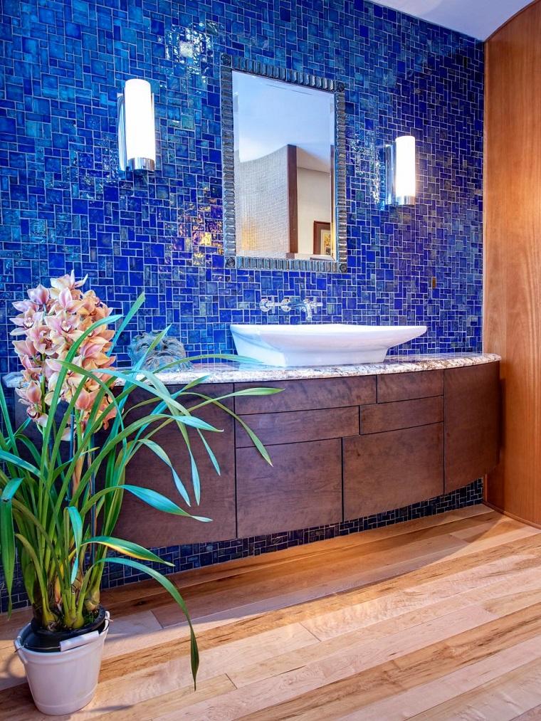 arredamento bagno mobile sospeso parete maiolica