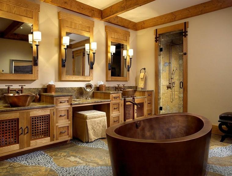 arredamento bagno stile rustico vasca rame