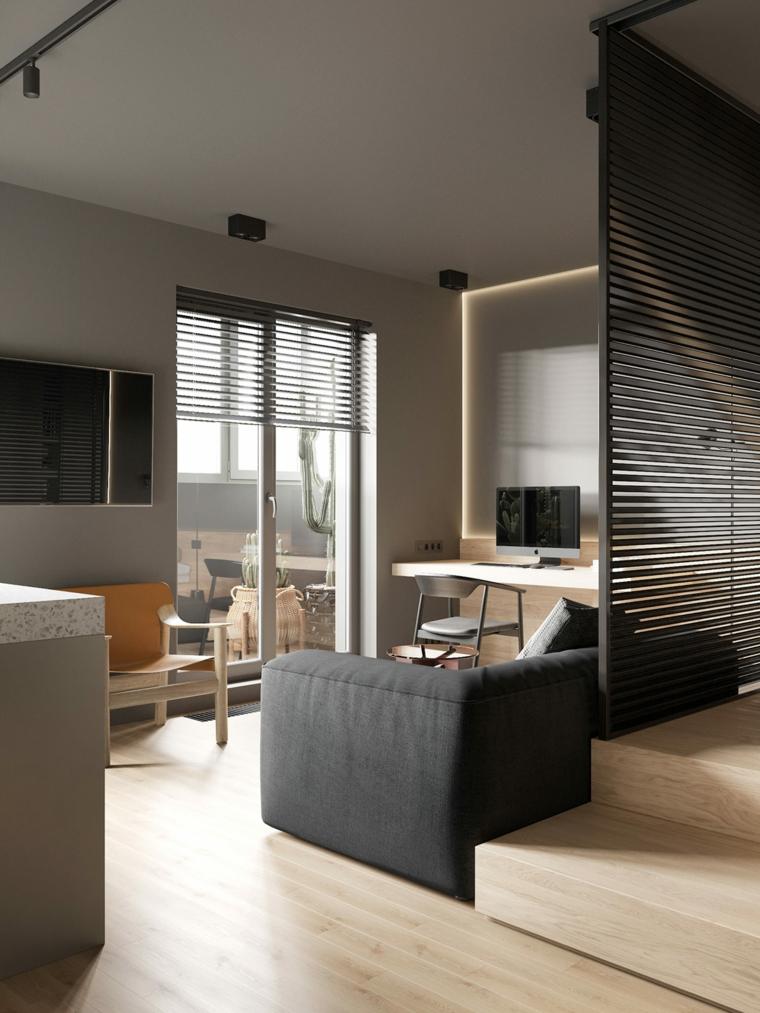 arredamento casa piccola open space camera da letto soggiorno scrivania di legno sospesa