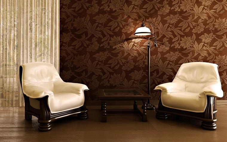 arredamento classico due poltrone bianche parete fiori
