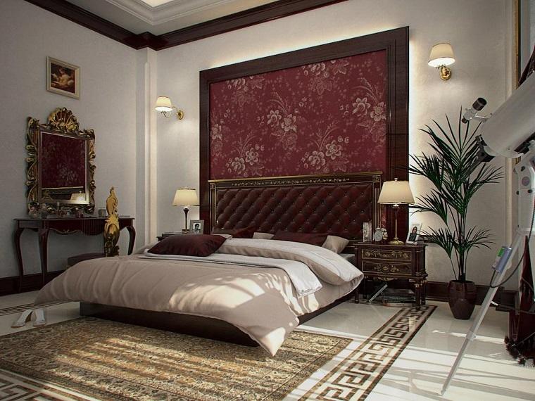 arredamento classico idea camera parete testata letto fiori