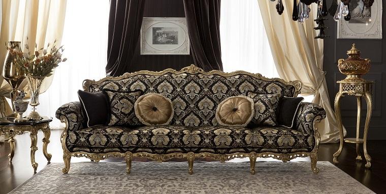 arredamento classico moderno sofa dettagli oro